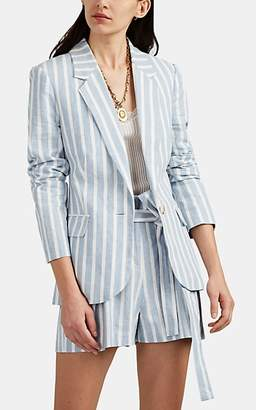 L'Agence Women's Scout Striped Linen-Cotton One-Button Blazer