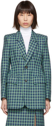 Balenciaga Blue Check Wool Hourglass Blazer