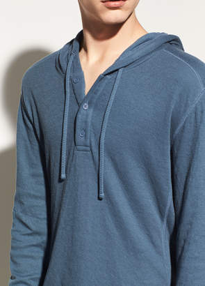 Vince Double Knit Hooded Cotton Henley