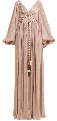 Peter Pilotto Cord Bodice Gathered Metallic Plisse Gown - Womens - Pink