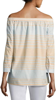 Lafayette 148 New York Amy Striped Off-the-Shoulder Cotton Blouse, Multi