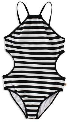 Kate Spade Girls' Striped Side Cutout Swimsuit - Little Kid