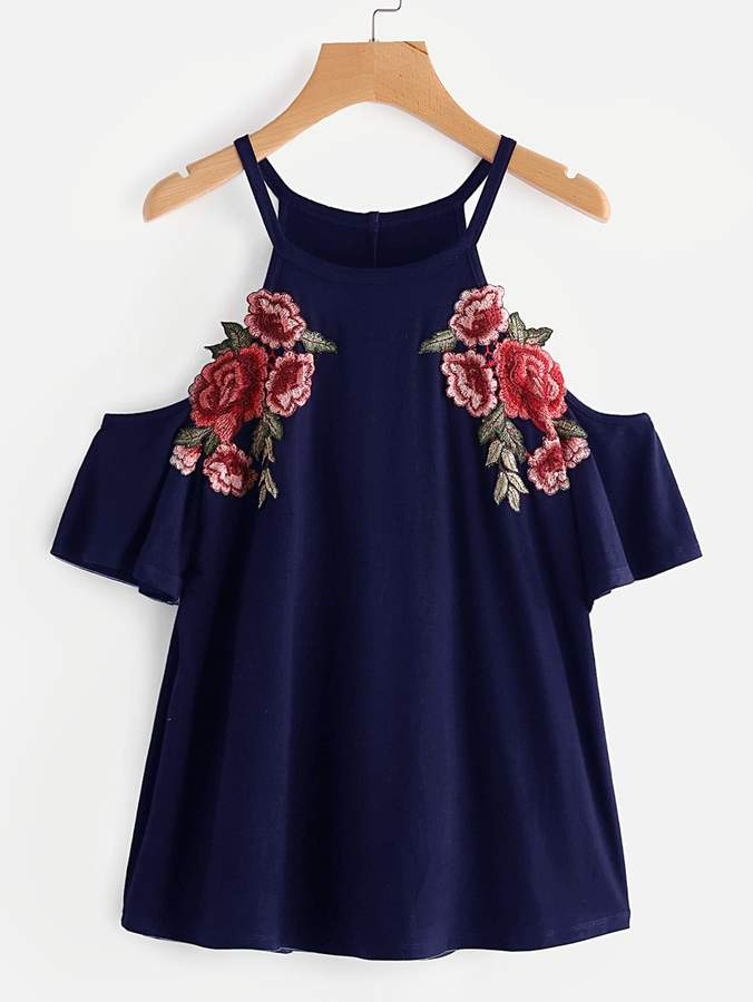 Romwe Embroidered Rose Patch Cold Shoulder Tee