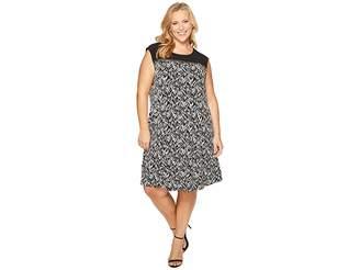 Calvin Klein Plus Plus Size Sleeveless Print Dress with Zipper Yoke Women's Dress