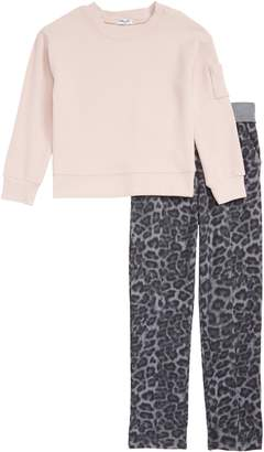 Splendid Thermal Top & Leopard Print Pants