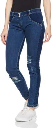 Freddy WR.UP® Distressed Denim Regular Rise Skinny - Dark Rinse + White Stitching (, XS)