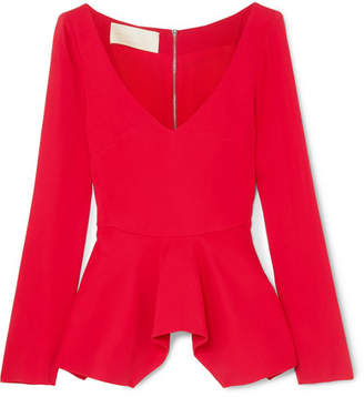 Antonio Berardi Stretch-cady Peplum Top - Red