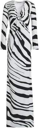Roberto Cavalli Twisted Zebra-Print Stretch-Jersey Gown