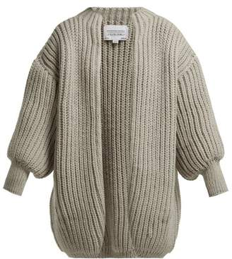 I Love Mr Mittens - Kolette Oversized Fisherman Knit Wool Cardigan - Womens - Light Grey