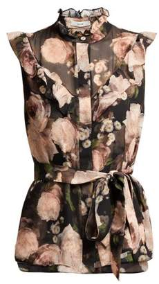 Erdem Jeanine Dutch Petal Print Silk Top - Womens - Black Pink