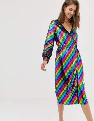 Warehouse wrap dress in rainbow sequin