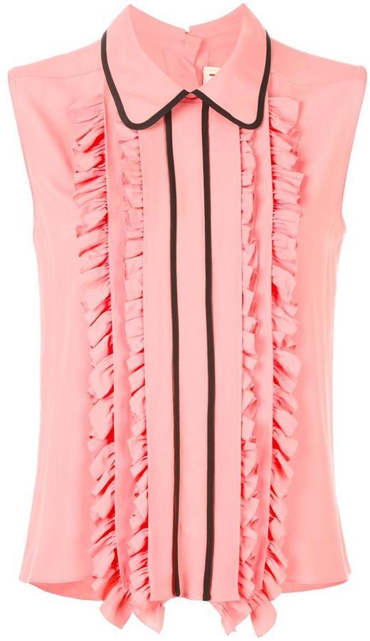 MarniMarni ruffle trim sleeveless blouse