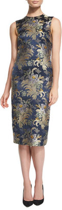 Ralph Lauren Collection Georgia Baroque Silk Brocade Sheath Dress, Petrol/Multi $1,194 thestylecure.com