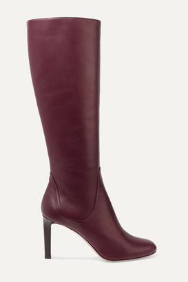 Jimmy Choo Tempe 85 Leather Knee Boots - Burgundy