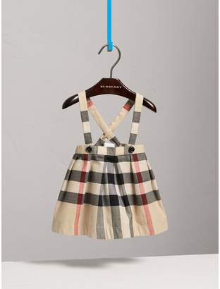 Burberry Childrens Detachable Strap Check Cotton Skirt