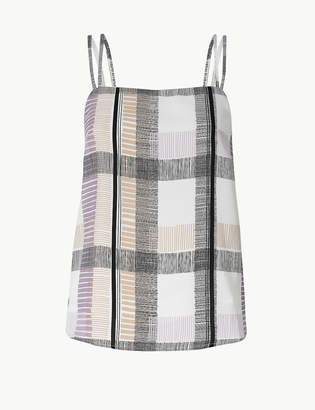 Marks and Spencer PETITE Checked Square Neck Camisole Top
