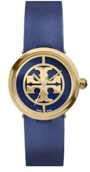 Tory BurchTory Burch Reva Goldtone Stainless Steel & Leather Strap Watch/Navy