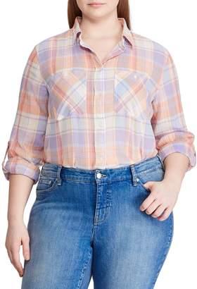 Lauren Ralph Lauren Plus Relaxed-Fit Plaid Cotton Button-Down Shirt