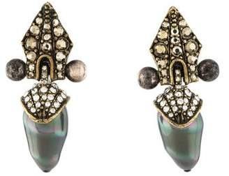 Lanvin Faux Pearl, Marcasite & Crystal Clip-On Earrings