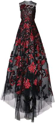 Oscar de la Renta taffeta and sequin floral embroidered gown