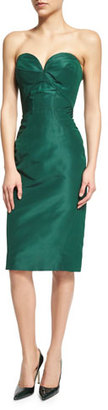 Zac Posen Strapless Sweetheart-Neck Cocktail Dress, Forest Green $1,990 thestylecure.com