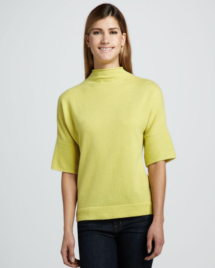 Lauren Hansen Mock-Neck Half-Sleeve Cashmere Sweater