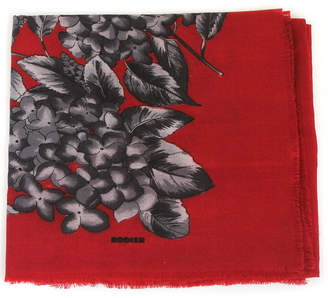 Belle Epoque L'illustration Rodier Red Flower Motif Wool Scarf