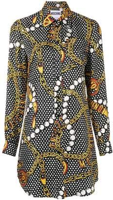 Moschino jewellery print shirt dress