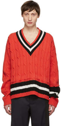 Maison Margiela Orange Collegiate Decortique V-Neck Sweater