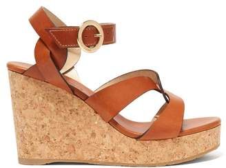 Jimmy Choo Aleili 100 Wedge Leather Sandals - Womens - Tan