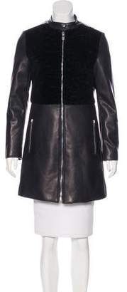 Saint Laurent Shearling Paneled Leather Coat