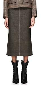 Fendi Women's Checked Wool-Blend Pencil Skirt-Gray