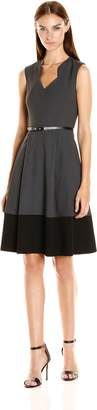 Calvin Klein Women's Fit and Flare Color Block Dress with Belt AT Waist