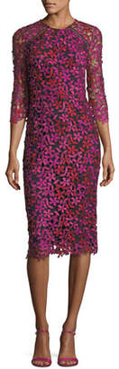 Shoshanna Havan 3/4-Sleeve Floral Lace Cocktail Dress