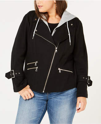 INC International Concepts I.n.c. Plus Size Hooded Moto Jacket