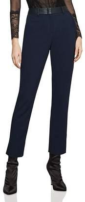 BCBGMAXAZRIA Faux-Leather-Trim Ankle Pants