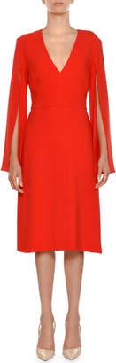 Stella McCartney V-Neck Split-Sleeve Sheath Dress