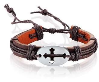 West Coast Jewelry Men's Brown Leather Open Cross ID Adjustable Bracelet (14mm)