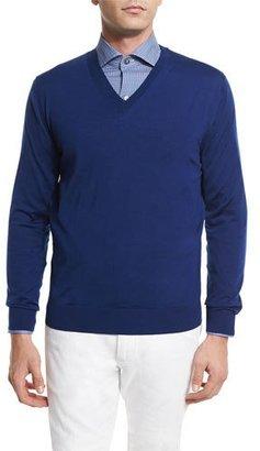 Ermenegildo Zegna High-Performance Wool Sweater, Bright Blue $595 thestylecure.com