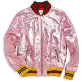 Gucci Little Girl's& Girl's Metallic Leather Bomber Jacket
