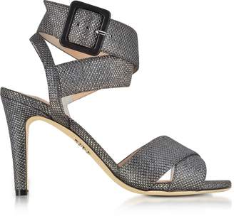 Rodo Black Suede and Lurex High Heel Sandals