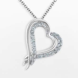 Two Hearts Forever One Sterling Silver Sky Blue Topaz Heart Pendant