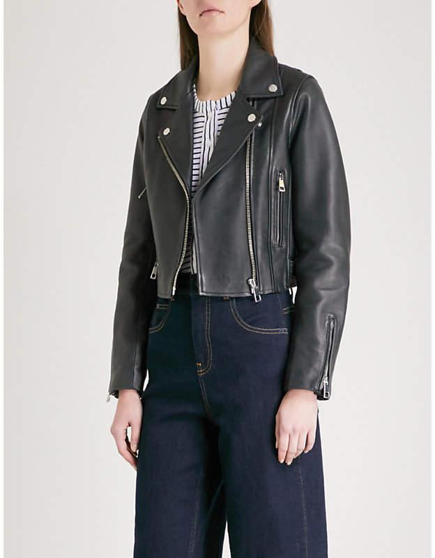 Rose cropped leather biker jacket