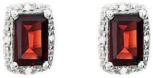 QVC Sterling Emerald-Cut Stud Earrings with Diamond