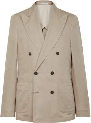 Reiss Lounge B - Linen Blend Double Breasted Blazer in Stone