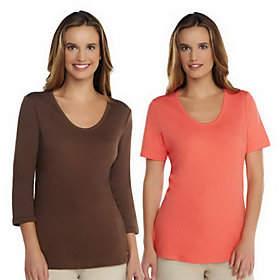 Liz Claiborne New York Essentials Set of 2Knit T-Shirts