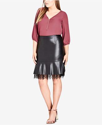 City Chic Trendy Plus Size Faux-Leather Peplum Skirt