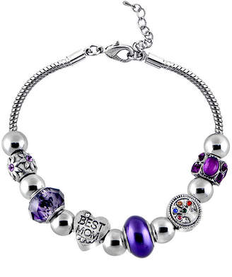 JCPenney DAZZLING DESIGNS Dazzling Designs Mom Tree-of-Life Purple Bead Bracelet