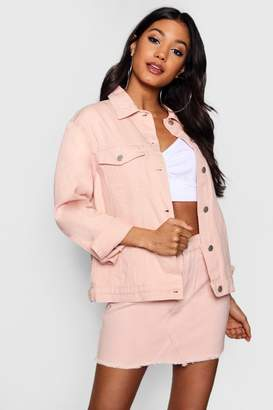 boohoo Nude Oversized Denim Jacket