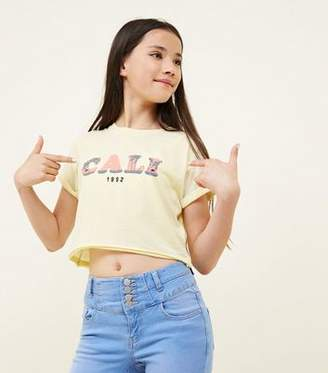 New Look Girls Pale Yellow Cali Slogan T-Shirt